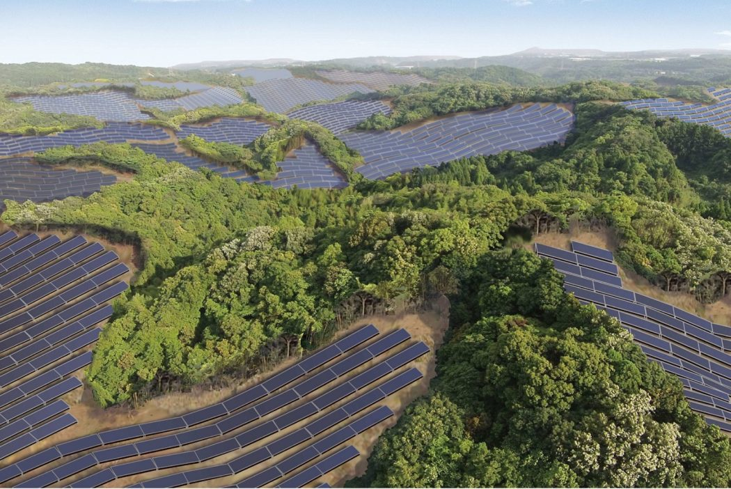 Rendering of the Kanoya Osaki Solar Hills Solar Power Plant in Japan